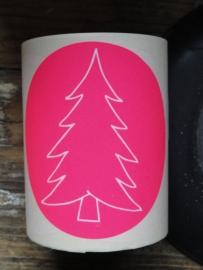 Sticker - fles etiket -  kerstboom fluor pink 9 cm / 5stk