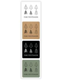 Sticker vierkant mix - kerst   35mm   12stk