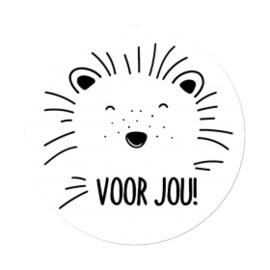 Sticker sluitzegel wit rond - Egeltje - voor jou | 45mm | 20stk