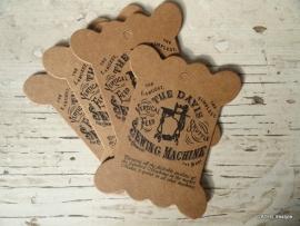 "Garenkaart   Karton ECO   vintage ""Sewing Machine""   5 stuks"