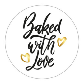 Sticker sluitzegel rond wit - Baked with Love | 45 mm | 10stk
