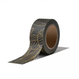 Washi tape - lovely leaves | zwart goud | 10m