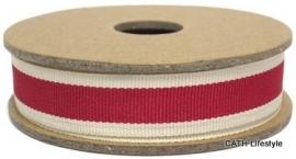 EI 3154 Band 3 meter spoel rood met creme kanten