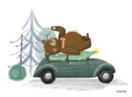 Kaart- beer op auto met kerstboom