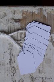 Set witte labeltjes met katoen / 10 stks
