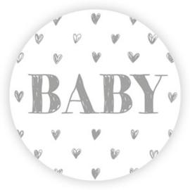 Sticker sluitzegel - baby grijs hartjes - 10 stk