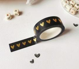 Masking tape | zwart hart goudfolie