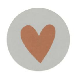Sticker  - sluitzegels | hart - terra | 5cm | 10stuks
