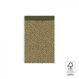 Zakjes black dots olive green | 12x19cm | 5stk