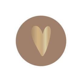Sticker  sluitzegels | klei mat foil hartje goud - 10stk
