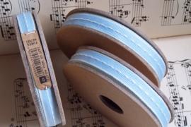 EI 3025 Band 3 meter spoel baby bleu met creme stiksel