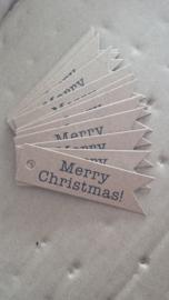 Label vaandel kraft / Merry Christmas / 20 stk