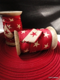 Band/ geweven / rood met sterren - 3 meter op houten klos