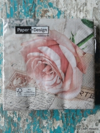 TI Servetten Postcard rose