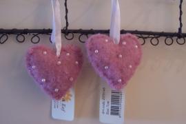 Hart/  vilt roze met pareltjes S