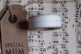 "Paper tape ""SPECIAL MUM"" wit met grijze tekst / EI 4756"