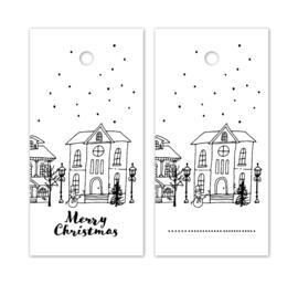 Label wit - Merry Christmas - kerstdorp | 5stk