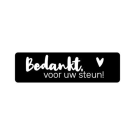 Sticker sluitzegel rechthoekig - zwart - Bedankt voor uw steun | 20 stk