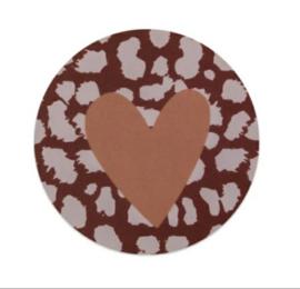 Sticker sluitzegel hart - panter | 5cm | 10stuks