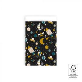 Kado zakjes / ruimtevaart space astronaut / 12x19cm/ 5 stk