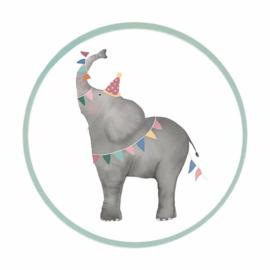 Sticker sluitzegel - Olifant | 6,5cm | 6stk