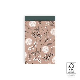 Zakjes Flowers Big | pink petrol | 12x19cm | 5stk