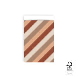 Zakjes big diagonal | terra | 12x19cm | 5stk