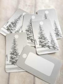 Cadeau kaartje | christmas tree | zwart-wit | pstk