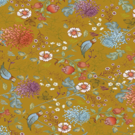 Inpakpapier kadopapier - Bird blossom oker geel - 30cmx1m