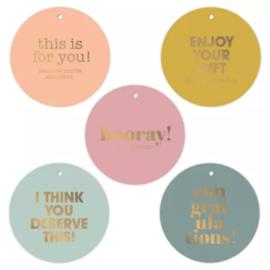 Cadeau kaartje - label | rond multi kleuren | 5stk