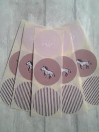 Stickers - sluirzegels rond Zebra / 15 stk