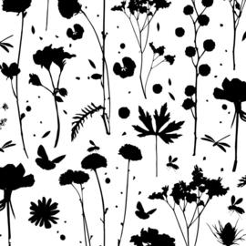 Vloeipapier - tissuepapier | grow plants silhoutte zwart | 50x70cm | 5stk