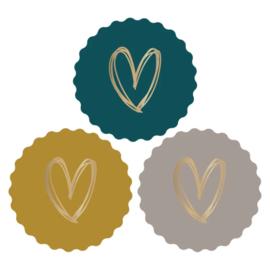Sticker sluitzegel hart mix | petrol okergeel nude | 9 stuks