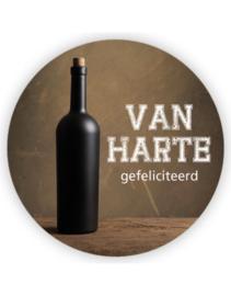 Sticker sluitzegel XL - Van Hart gefeliciteerd - proost