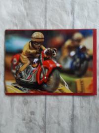 Wenskaart - blikken speelgoed motor