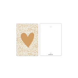Cadeau kaartje | hart dots - oker