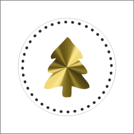 Sticker sluitzegel rond wit met kerstboom goud | 20 stk