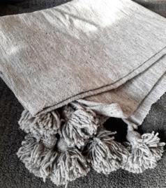 Pompom deken / plaid | grijs | 140x180mm