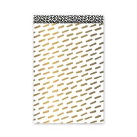 kado zakjes open spaces - goud | 12x19cm | 5stk