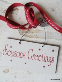 "kerst label / Houten hanger tekst ""Seasons Greetings"""