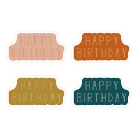 Sticker sluitzegel Happy birthday 4kleuren | 12stuks