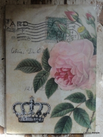 Vintage Schriftje Rose/Crown