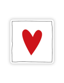Sticker vierkant wit rood hart | 35mm | 10stk