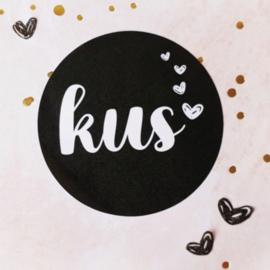 Sticker sluitzegel | zwart - kus | 10stk