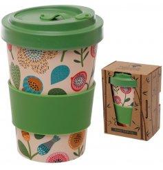 Bamboe reisbeker / herfts bloemen bamboo cup / 400ml