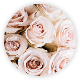 Sticker rond - roze rozen - 10 stk