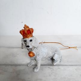 Kerst decoratie hanger hond met kroon | pstk