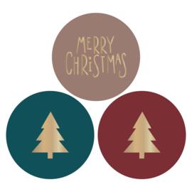 Sticker sluitzegel christmas | kerstboom merry christmas | 9 stk