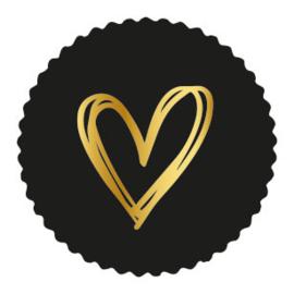 Sticker zwart schulprand - painted hart goud | 9stk