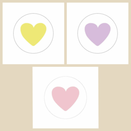 Sticker mix hartjes pastel | 40mm | 15stk